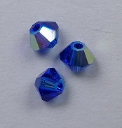 3 mm Blue Capri AB Swarovski Element Bicones