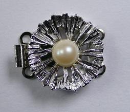 Luxe schuifsluiting met Swarovski parel voor 2 rijen, silver plated
