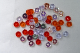 Czech Glass,  Faceted Rondel beads, 3x6 mm, mix Melonberry