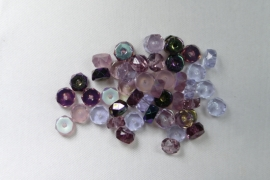 Czech Glass,  Faceted Rondel beads, 3x6 mm, Mix Lilac