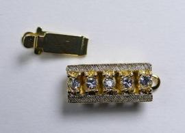 Rechthoekige sluiting voor 1 streng, gold plated