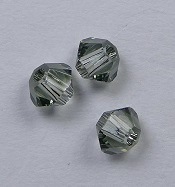 3 mm Black Diamond Swarovski Element Bicones