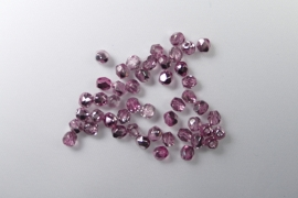 Czech Glass  Firepolish, 4mm Coated 1/2 Silver/Plum