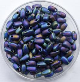 Miyuki Long Drops, 3x5,5 mm , Matte Black AB, kleurnummer 401FR
