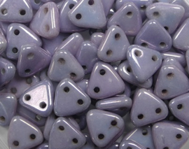 2 hole Triangle Beads, 6 mm, Czech Mates, Alabaster Luster Metallic Amethyst