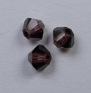 3 mm Burgundy Swarovski Element Bicones