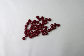 Round Beads , 4 mm, Czech Glass Opal Red