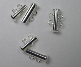 Ronde schuifsluiting, 2 strengen, silver plated