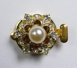 Luxe schuifsluiting met Preciosa parel en kristal voor 1 rij,goudkleurig