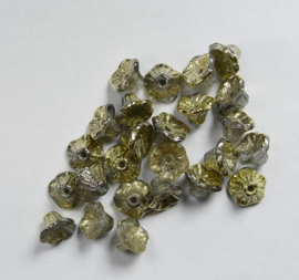 Flower Cup beads, 7x5 mm, Crystal Amber