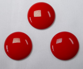 Czech Round Cabochon, 24 mm, Red Coral