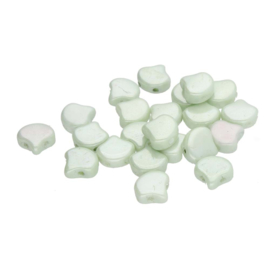 Matubo 2-Hole Ginko Bead Chalk White Green Luster