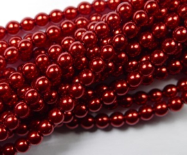 Czech glasparels, 3 mm, Red