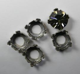 Setting voor rivoli of chaton, 8 mm, antiek zilverkleur