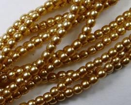 Czech glasparels, 2 mm, Light Gold
