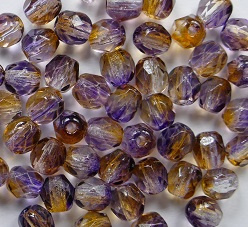 Czech Glass,  Firepolish, 4 mm Dual Coated Cantaloupe/Grape