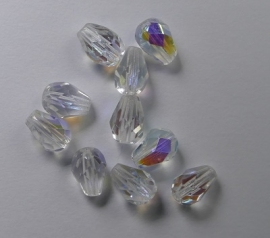 Firepolished Drops, 7x5 mm, Crystal AB