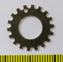 Tandwieltje 'notched washer' 3/4 inch (2,5 cm) Gold Filled