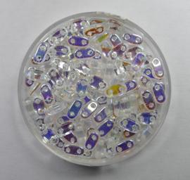 2 hole Bar Beads, 6x3 mm, Czech Mates, Crystal AB
