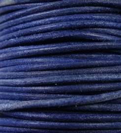 Indiaas leer, rond, 2 mm, 50 cm, Natural dyed blue