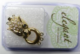 Bijzondere sluiting voor 3 strengen, Cheetah, gold plated