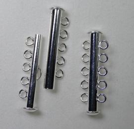 Ronde schuifsluiting, 5 strengen, silver plated