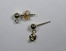 Oorstekers, Gold Filled, met 4 mm balletje mm