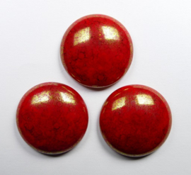 Czech Round Cabochon, 24 mm, Red Coral Lumi