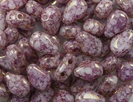 Round Dropduo, 5x7 mm, Chalk White Teracota Purple