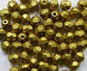 Czech Glass,  Firepolish, 4 mm Matte Metallic Aztec Gold