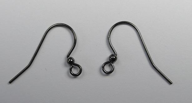 5 paar oorbelhaakjes 25 mm. black oxide