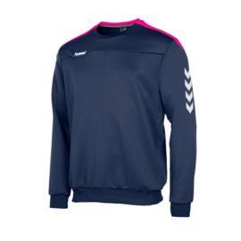 Blauwe Hummel Valencia sweater met roze tint
