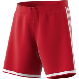 Korte rode sportbroek Adidasmet witte strepen Regista 18