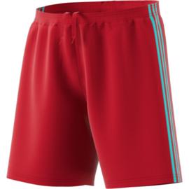 Rode korte broek Adidas lichtblauwe strepen Condivo 18