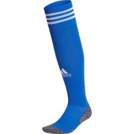 Blauwe Adidas voetbalsokken met witte strepen