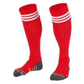 Rode sokken met witte ringen