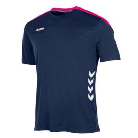 Blauw Hummel Valencia shirt met korte mouwen