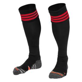 Zwarte sokken met rode ringen