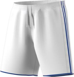 Witte Adidas korte sportbroek met blauwe strepen
