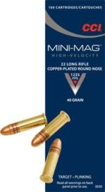 Kogelpatroon CCI Mini-Mag. .22 LR Copper Plated RN 40 Grain