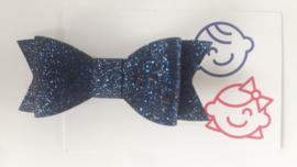 strik navy blauw glitter 7 cm