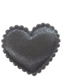 Hartjes satijn zwart 20 mm