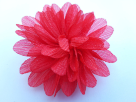 Haar bloem 7cm glitter rood