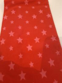100 x 75 cm rood met roze sterren
