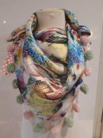 Sjaal maat M bloemen beige print