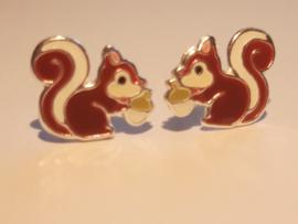 Zilveren oorbellen eekhoorn