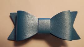 blauw leren strik egaal 7 cm