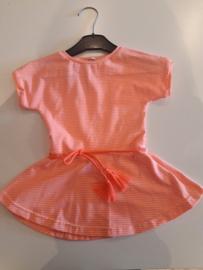 Zwier jurkje neon roze gestreept maat 80/86 trico