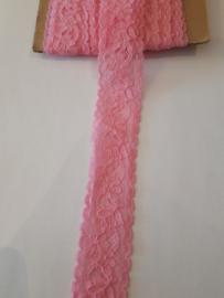 Sier elastiek kant roze