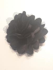 Chiffon bloem met tule zwart